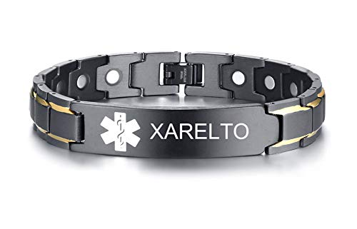 XARELTO Black Ion Plated Stainless Steel Magnetic Therapy Health Emergancy Medical Alert ID Bracelets for Men - Id Medical Jewelry Bracelet Alert