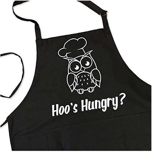 - Hoos Hungry Apron - Funny Pun Men's BBQ Grill Apron - 1 Size fits All 4 Pockets