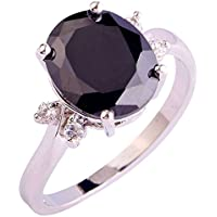 Siam panva Charming Black Spinel White Topaz Gems Silver Jewelry Ring Size 6 7 8 9 10 (6)