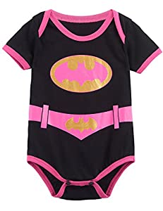 A&J Design Baby Girls' Batgirl Short Sleeve Onesie