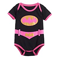 A&J Design Baby Girls' Batgirl Short Sleeve Bodysuits (6-12 Months)
