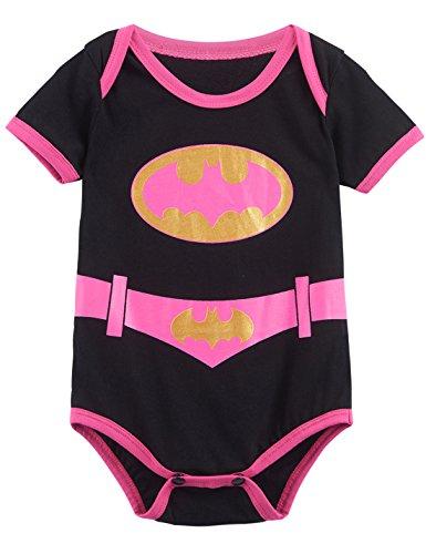 [A&J Design Baby Girls' Batgirl Short Sleeve Bodysuits (6-12 Months)] (Baby Batgirl Outfit)