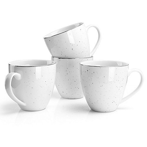 (Sweese Porcelain Mug Set - 11 Ounce for Coffee, Tea, Cocoa and Mulled Drinks - Set of 4, Gold Trim Black Speckled)