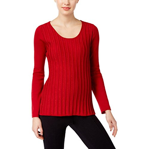 Metallic Stripe Sweater - NY Collection Womens Petites Metallic Stripe Knit Pullover Sweater Red PM