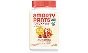 Daily Organic Gummy Kids Multivitamin: Probiotic, Vitamin C, D3 & Zinc for Immunity, Biotin, Omega 3 from Flaxseed Oil, B6 & B12 for Energy by SmartyPants 120 Count (30 Day Supply)
