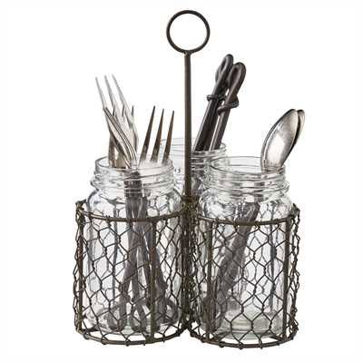 Amazon.com: Park Designs Triple Mason Jar Chicken Wire Utensil Caddy ...