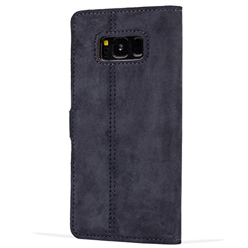 Snakehive Samsung Galaxy S8 Case, Genuine Leather Wallet with Viewing Stand and Card Slots, Flip Cover Gift Boxed and Handmade in Europe for Samsung Galaxy S8 - Black and Brown