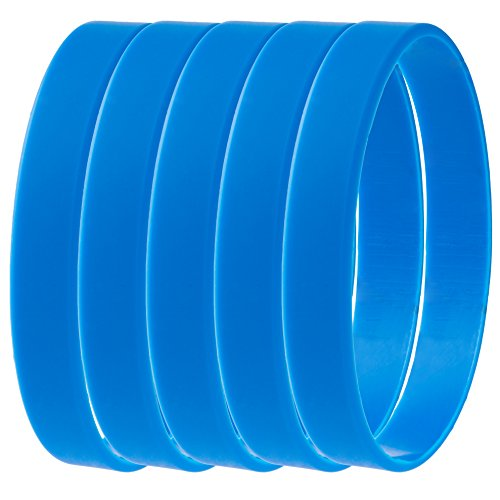 Green House-5pcs Blank Wristband Blue Fashion Sports Silicone Wristband Bracelets
