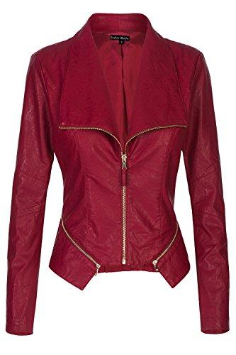 Instar Mode Women's Ultimate Moto Biker Faux Leather Jacket (JK61012 Burgundy, Small)