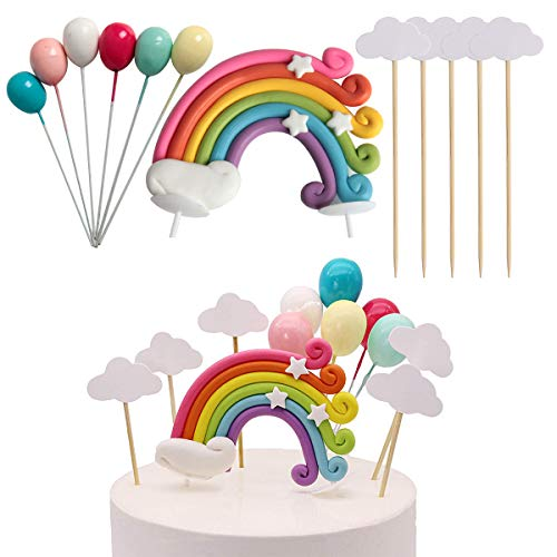 Hapy Shop Rainbow Cake Topper Cloud Balloon Cake Flags Birthday Wedding Cake Flags Toppers for Birthday Party Baking Decoration Supplies and Wedding Favors