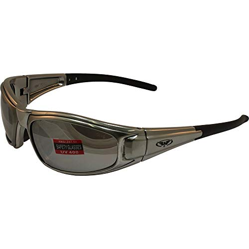 Global Vision Zilla Safety Sunglasses Platinum Silver Frame Flash Mirror Lens ANSI Z87.1