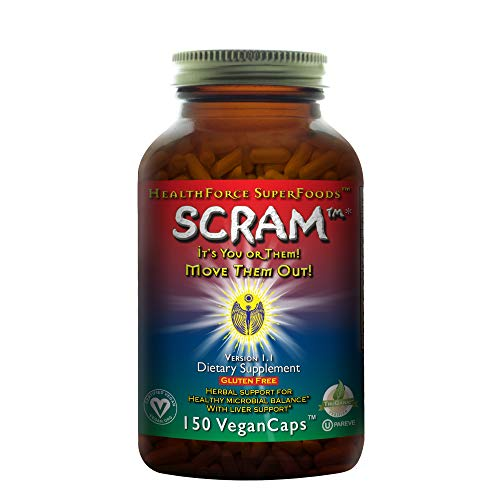 - HealthForce SuperFoods Scram - 150 Vegan Capsules - All Natural Internal Parasite Cleanse, Anti Fungal, Anti Yeast - Non GMO, Gluten Free - 15 Servings