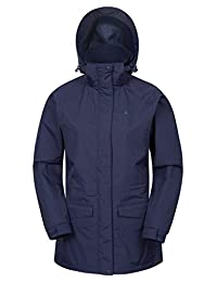 Mountain Warehouse Glacier Extreme Womens Long Waterproof Jacket - Breathable IsoDry Fabric, Taped Seams, Double Storm Flap & Detachable Hood with Multiple Pockets Navy 8