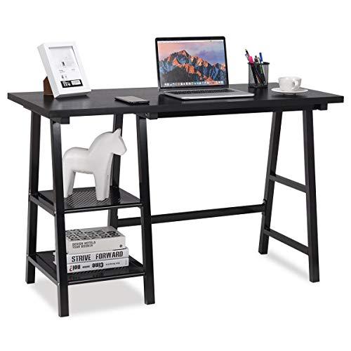 Computer Desk Trestle Writing Laptop Table Open Tiers Shelves Modern Black
