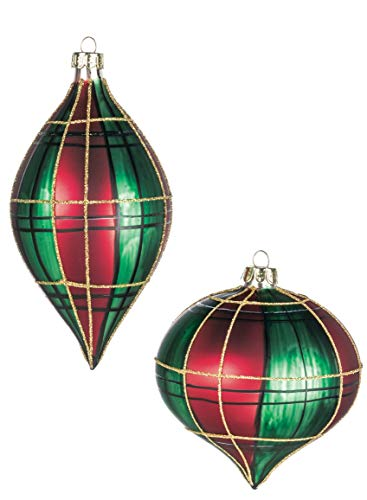 Sullivans Red and Green Plaid Onion and Drop Christmas Ornaments, Set of 6 in 2 Styles, 4