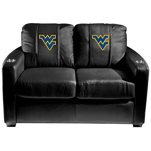 XZipit College Silver Loveseat with West Virginia Mountaineers Logo Panel, Black