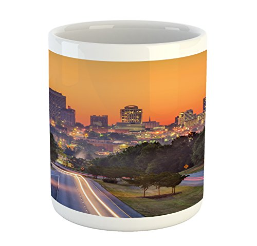 Ambesonne United States Mug, Skyline of Columbia City South Carolina Main Street Urban Scene, Printed Ceramic Coffee Mug Water Tea Drinks Cup, Orange Dark Green Blue