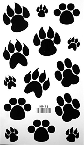 Dog Paw Footprint Tattoo Stickers Temporary Tattoos Fake Tattoos 3pcs/lot 17.8cm X 10cm (Tattoo Dog)