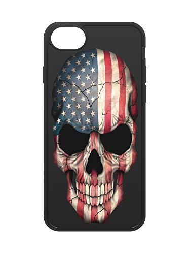 407Case Compatible with iPhone 7 & iPhone 8 American Flag Skull Protective Hybrid Rubber Phone Case (iPhone 7/8)