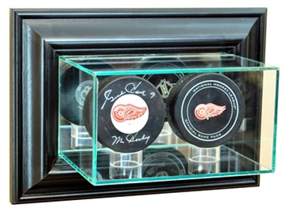 NHL Wall Mounted Double Puck Glass Display Case, (Nhl Display Cases)