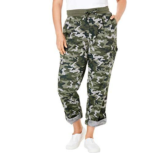 (Woman Within Women's Plus Size Petite Convertible Length Cargo Pant - Green Shadow Camo, 26 WP)