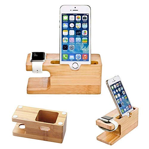 Stand Compatible with Apple Watch, Bamboo Wood Phone Stand Compatible with iPhone Xs MAX XS X 8 7 6 Plus 5 5c and Compatible with Apple Watch