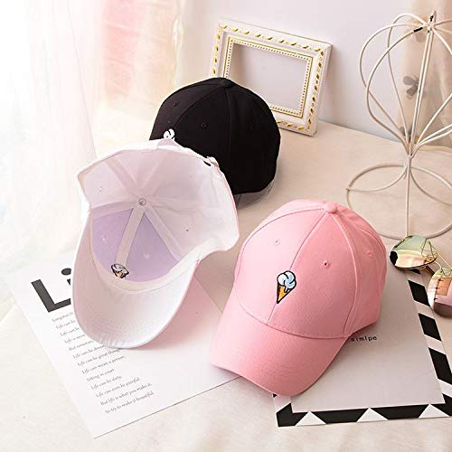 Mens Womens Couple Peaked Caps Hip Hop Curved Snapback Fresh Cute Icecream Baseball Caps Adjustable Cotton Washed Hat (Pink) by Aurorax Hat (Image #8)