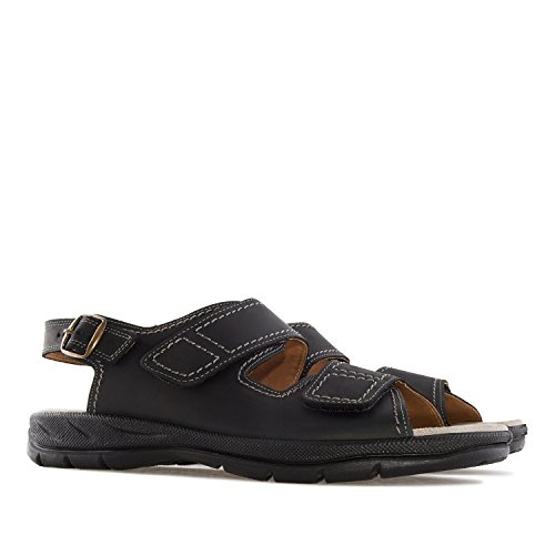 Andres Machado.503607.Mens Brown Genuine Leather Sandals.Large Sizes EU 47 to 51/UK 12 to 14.5. Black Leather