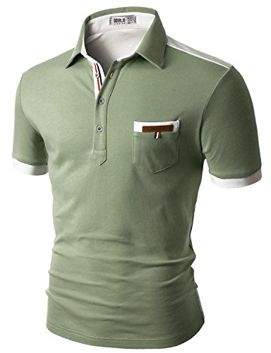 Doublju Mens back color blocked short sleeves polo shirts with pocket point