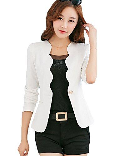 My Wonderful World Women's One Button Boyfriend Office Blazer X-Large White (US 6)