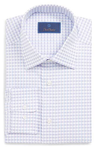 (David Donahue Men's Trim Fit Textured Check Dress Shirt (16.5 x 34/35,)