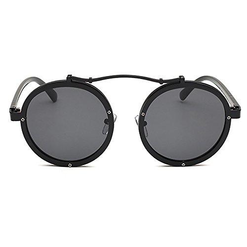Hombres góticas Espejo UV400 Gafas sol Gafas de Negro de la gafas marca Mujeres Punky sol Envoltura Redonda Steampunk metal Diseñador de de cqHItH