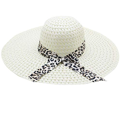 (Leopard Print Big Brim Straw Hat Women Sun Floppy Wide Brim Hats Beach Cap Milk White)