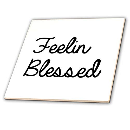 3dRose Tory Anne Collections Quotes - Feeling Blessed - 4 Inch Ceramic Tile (ct_288759_1)