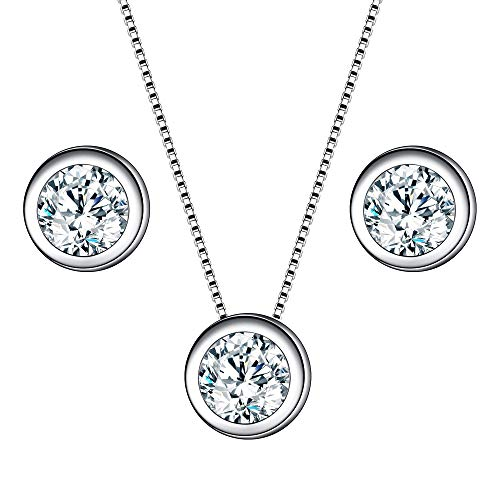 EleQueen Women's 925 Sterling Silver 0.7 Carat Solitaire Round CZ Bridal Necklace Earrings Jewelry Sets (Sterling Silver Bezel Necklace)