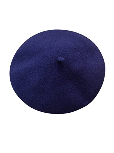 Clothink Navy Blue Wool Classic Paris artist Beret Hat - Beret Navy Blue