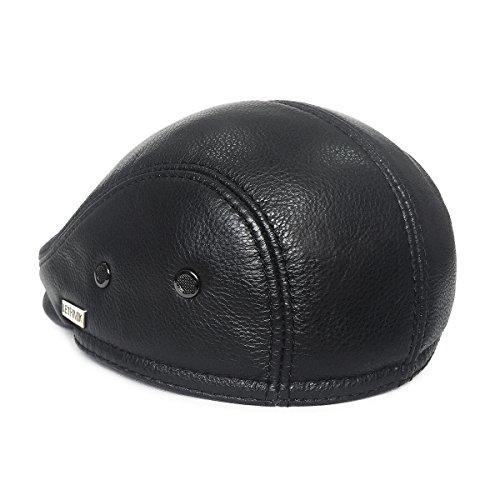 3f795a3d5062a2 LETHMIK Flat Cap Cabby Hat Genuine Leather Vintage Newsboy Cap Ivy Driving  Cap L-Black