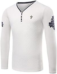 OULIU Mens Casual Dress V-neck Button Slim Fit Long Sleeve T-Shirt
