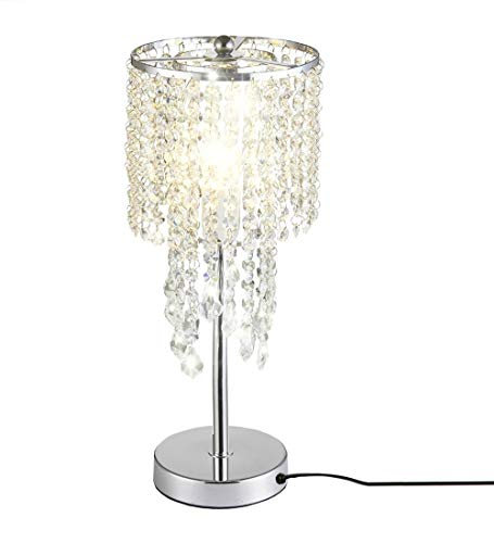 Surpars House Raindrop Silver Crystal Table Lamp for Bedroom,Living Room,Girls Room or as Wedding ()