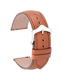WOCCI Watch Band Quick Release,18mm Fine Grain Calf Leather Watch Strap in Gold Brown Tone on Tone Seam