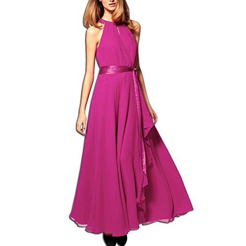 Da Cocktail Sera rosso Abito Senza Da Abito Vestito Maniche Elegante Di Abito Kaxidy Rosa Partito Xzc7waq6