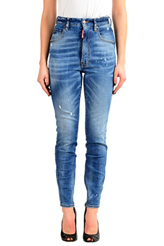 Dsquared2 Blue Distressed High Waisted Slim Fit Women's Jeans US XS IT 38