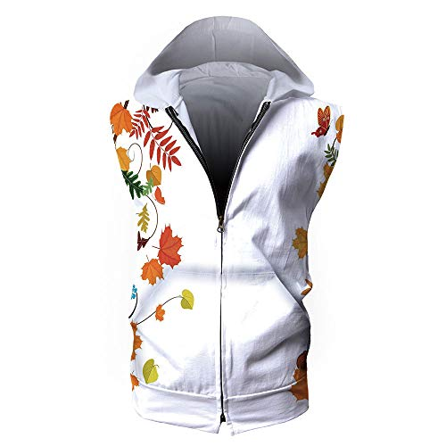 iPrint Men's Waistcoat Hoodie Sleeveless, Harvest,Colorful Seasonal Maple Aspen ()