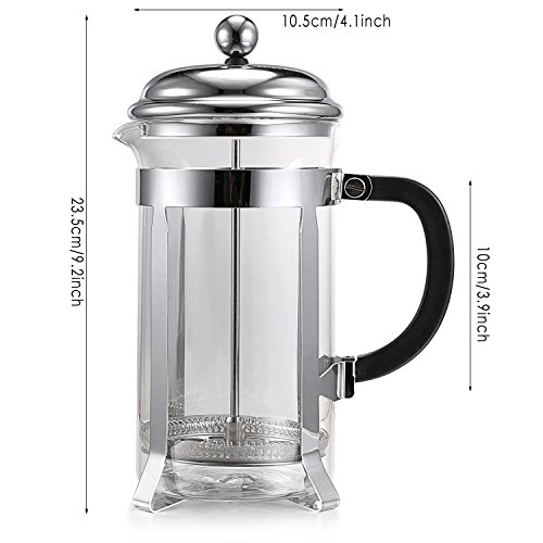 homdox french press coffee tea maker espresso with heat resistant glass and stainless steel. Black Bedroom Furniture Sets. Home Design Ideas