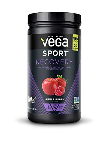 Vega Sport Recovery Apple Berry (20 Servings, 19oz) - Vegan, Non Dairy, Gluten Free, Pre Workout Recovery, BCAAs, Non GMO (Packaging May ()
