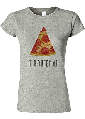 マットレス乳製品オークションThe Healthy Eating Pyramid Pizza Novelty Sports Grey Women T Shirt Top-XXL