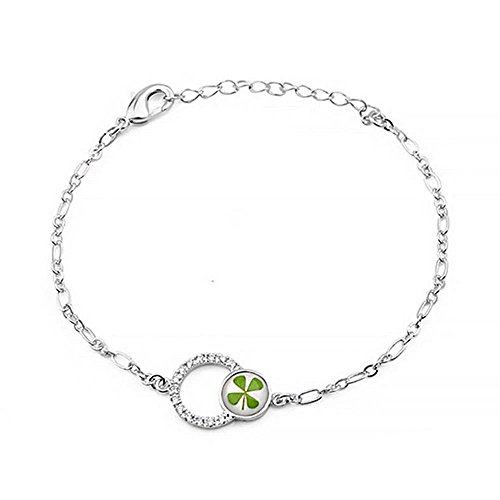 4 Leaf Clover Bracelet (Stainless Steel Real Irish Four (4) Leaf Clover Shamrock Double Circles Bracelet)