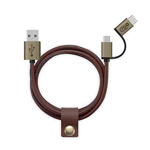 Cabo Couro Micro e USB-C i2GO