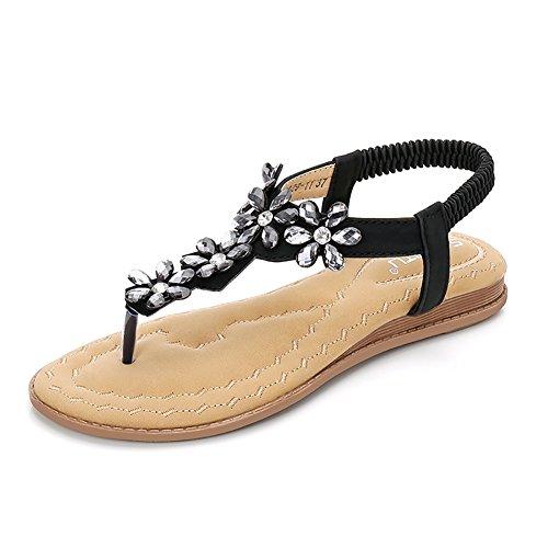 Meeshine Womens T-Strap Open Toe Sparkle Flip-Flops Summer Dress Flat Sandals Shoes (8 B(M) US, Black 03)