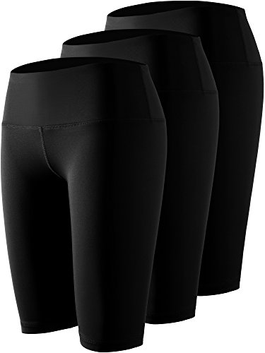 Cadmus Women's 3 Pack Compression Athletic Workout Shorts with Pocket,04,Black,Small